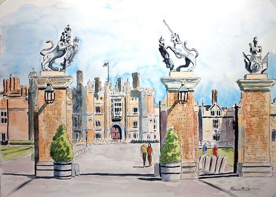 Hampton Court Gate, watercolour & ink painting