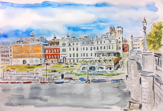 Richmond Riverside from across the River, watercolour & ink painting