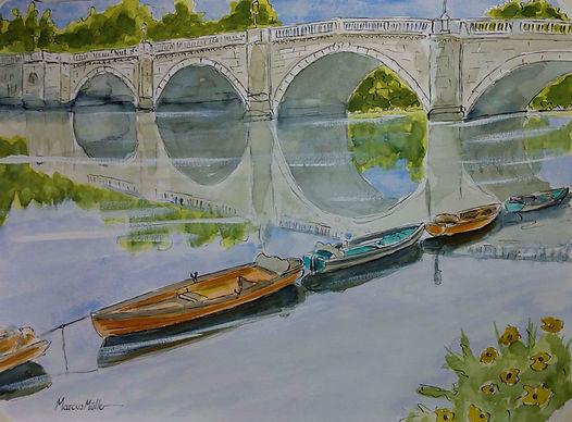Richmond Bridge Arches, watercolour & ink painting