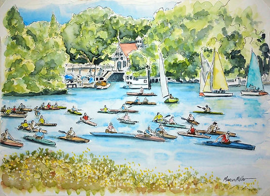 Richmond Canoe Club Hasler race, watercolour & ink painting