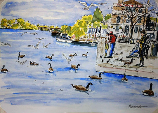 Richmond Riverside in the Autumn 2020, watercolour & ink painting