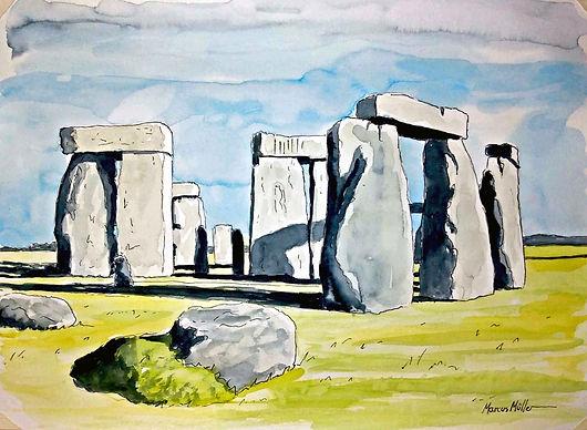 Stonehenge, watercolour & ink painting