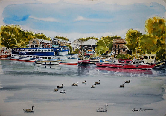 Thames view of St. Margaret's Riverside, watercolour & ink painting