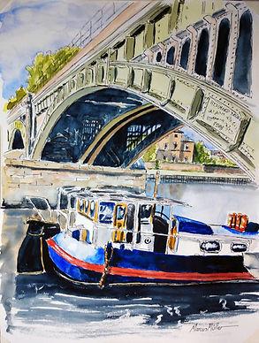 Richmond Rail Bridge, watercolour & ink painting