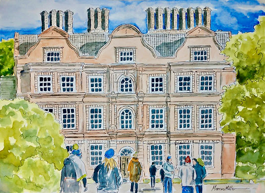 Kew Gardens - Red Palace, watercolour & ink painting