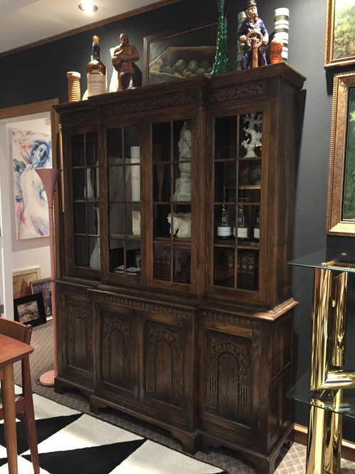 Quality Custom Built Solid Wood Display Cabinet 2 Pieces Rich Dark Stain With Carved Details All Doors Lock Skeleton Key Included