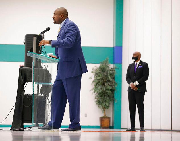 Reverend Turner speaking at Justice for Greenwood Press Conference