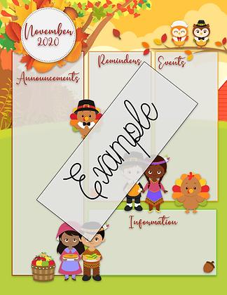 November Custom Newsletter w/FREE Calendar