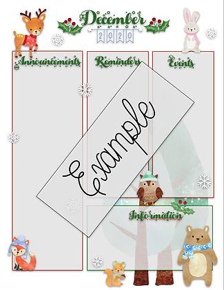 December Custom Newsletter w/Free Matching Calendar