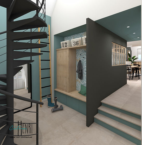 hall avec vestiaire escalier hélicoidal
