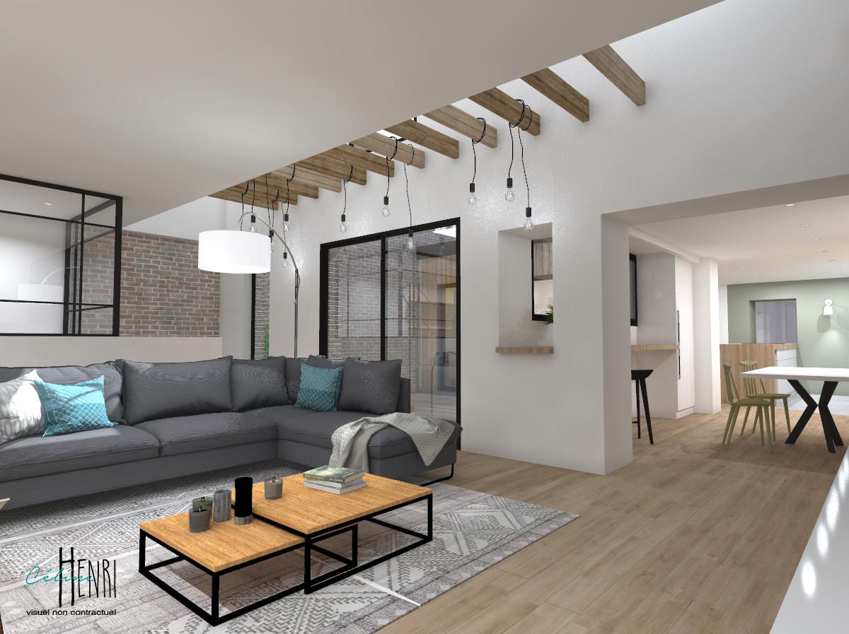 Salon / espace repas et accès patio