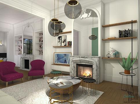tv frame samsung salon cheminée marbre