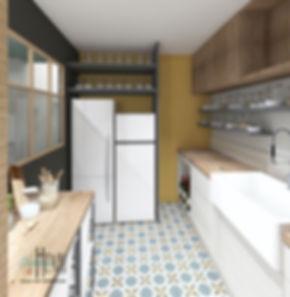 arrière cuisine buanderie frigo