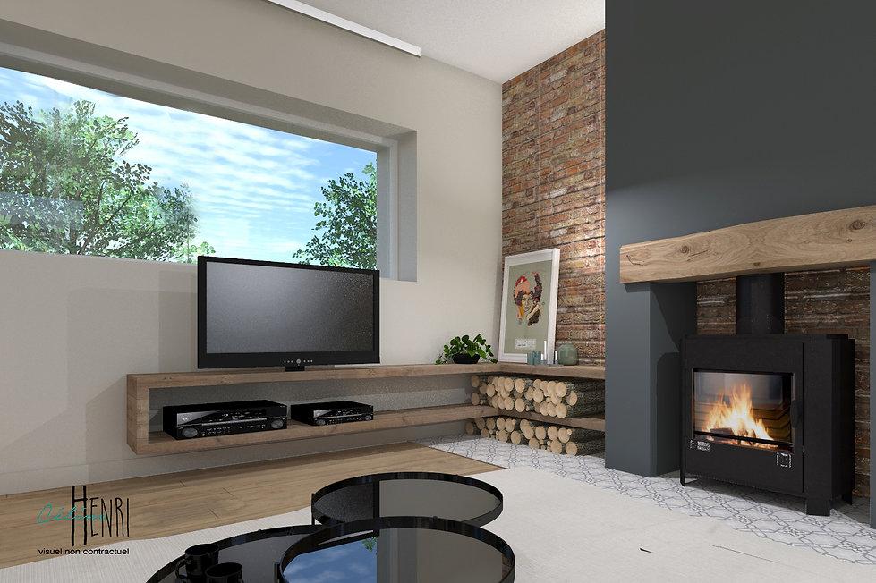 salon tv cheminée