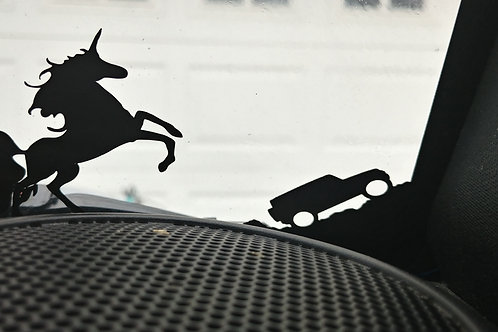 Unicorn windshield decal 2 x 2 inches