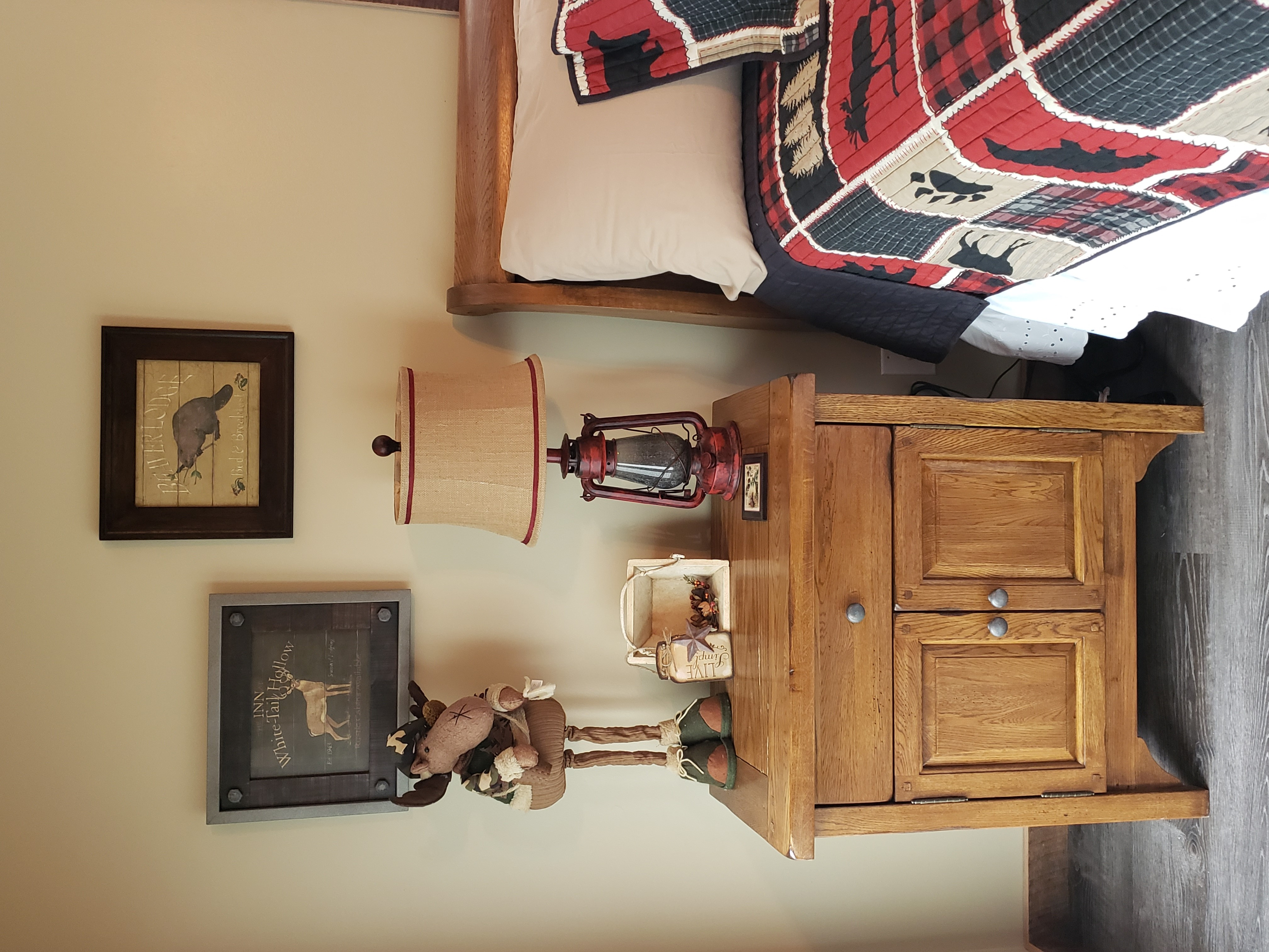 Bedside table with lantern lamp
