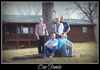 Our family in front of the Bed and Breakfast