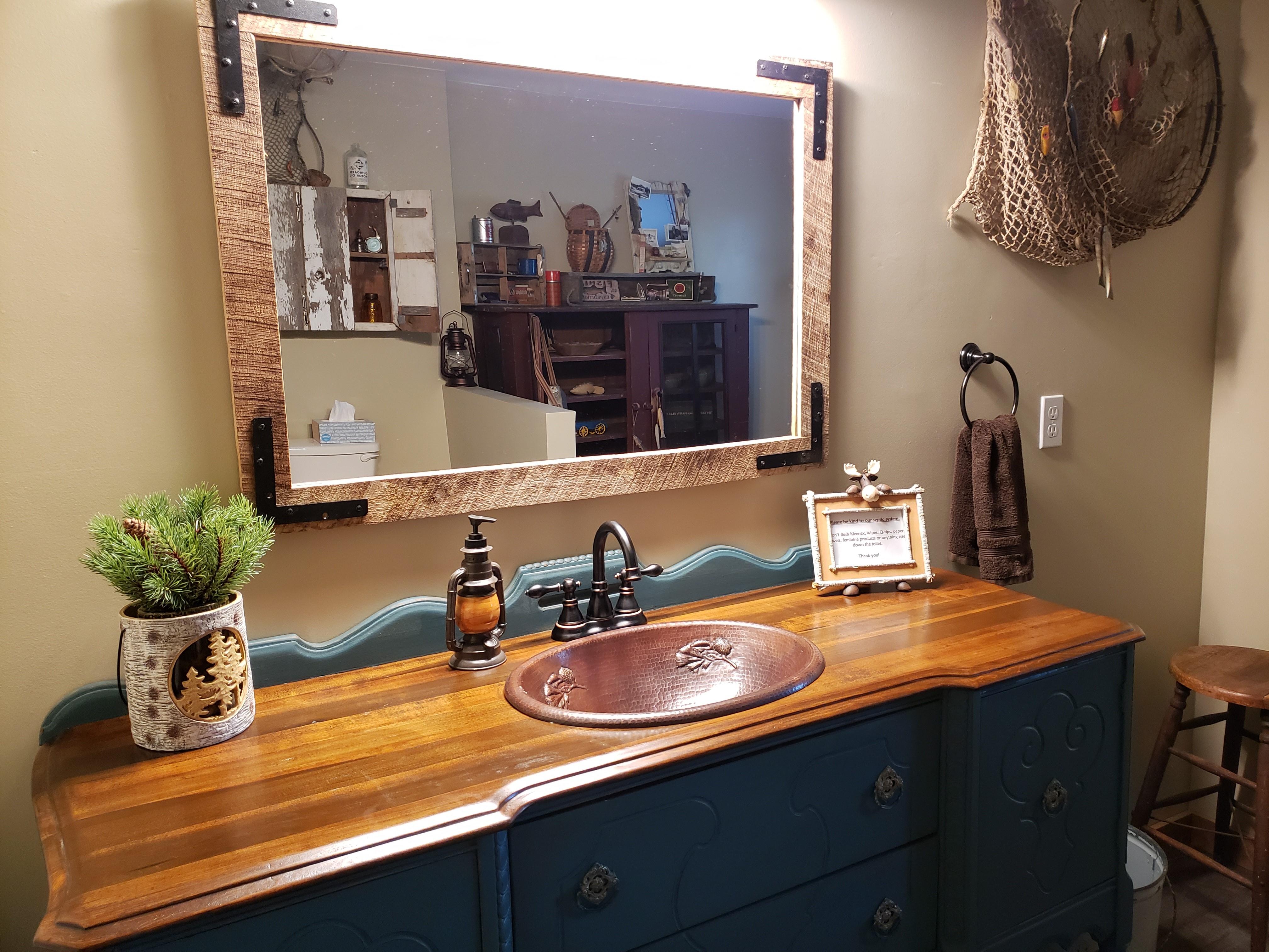 Custom antique vanity with mirror