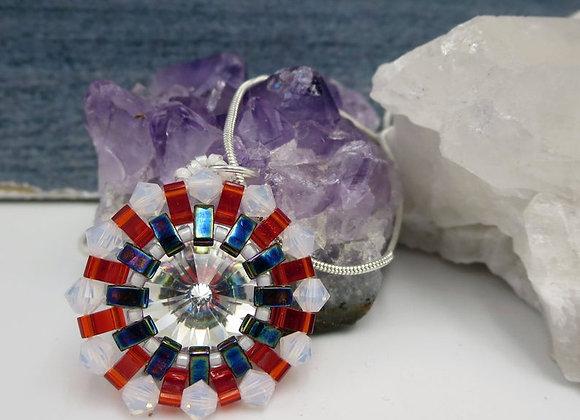 USA, Red White and Blue Swarovski Crystal Handwoven Pendant