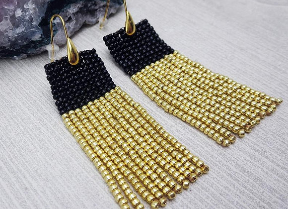 Handwoven Fringe Black and Gold Statement Earrings