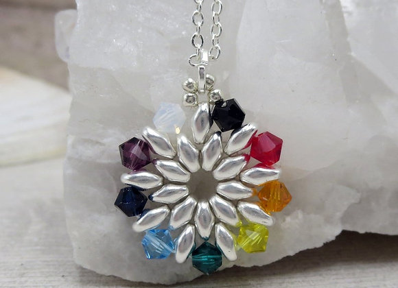 Rainbow Swarovski Crystal Necklace Seen on The Road Home To Christmas