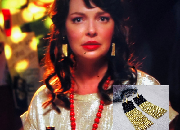 Seen on Katherine Heigl Handwoven Fringe Black and Gold Statement Earrings