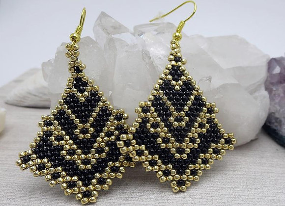 Handwoven Intricate Black and Gold Statement Earrings
