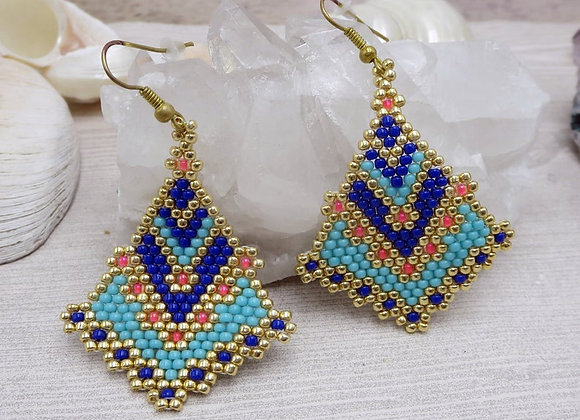 Handwoven Intricate Blue and Coral Statement Earrings