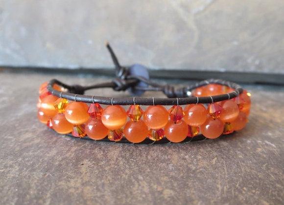 Orange Cats Eye Wrap Bracelet Seen on Meredith Vieira