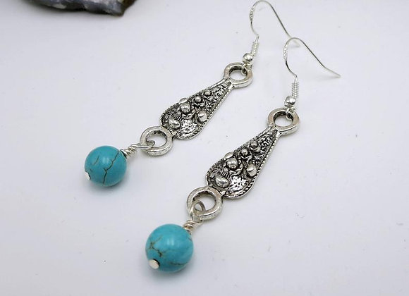 Turquoise and Silver Dangle Earrings Seen on Fuller House