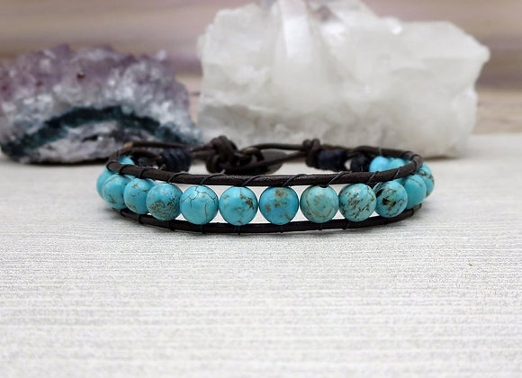 Howlite and Lava Stone Bracelet seen on Lifetime's The Road Home To Christmas