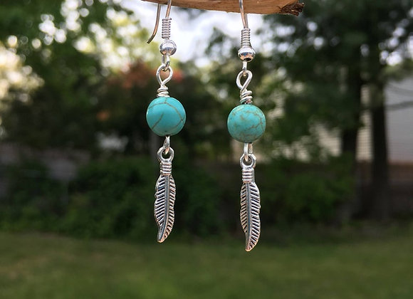 Turquoise and Feather Dangle Earrings Seen on Bones