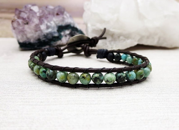 African Turquoise and Lava Stone Bracelet seen on Stephanie Drapeau