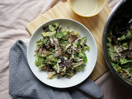 Roasted Mushrooms Salad with Creamy Lemon Dressing