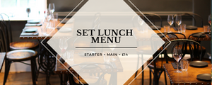 Our Set Menu changes monthly. Meat, fish and veggie options available!