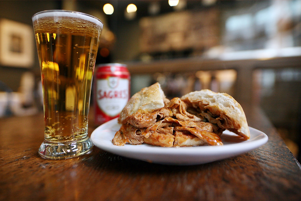 takeaway juicy bifana sandwich  and port