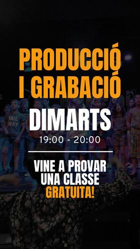 HORARIS PRODUCCIÓ I GRABACIÓ  DIMARTS: 19:00 H - 20:00 H  Vine a provar una classe GRATUÏTA!