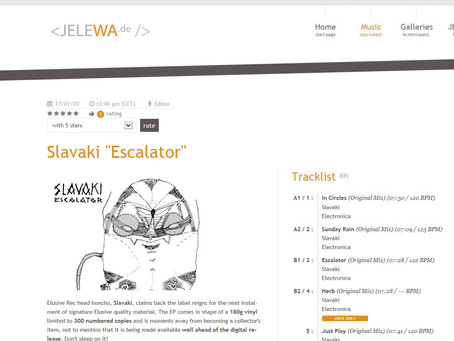 New support from Jelewa for upcoming release 'Escalator' on Elusive!