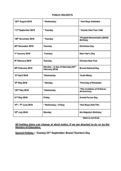 School Calendar 2018 Brunei : Term dates panaga school brunei