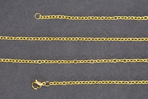 Chaine couleur doré n°6 - 60 cm - Grand maillon - Petit fermoir