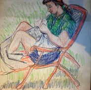 Artist's Daughter Sewing