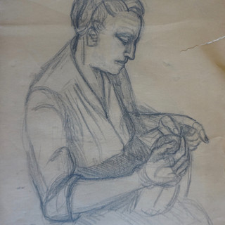 Portrait of a Woman Sewing