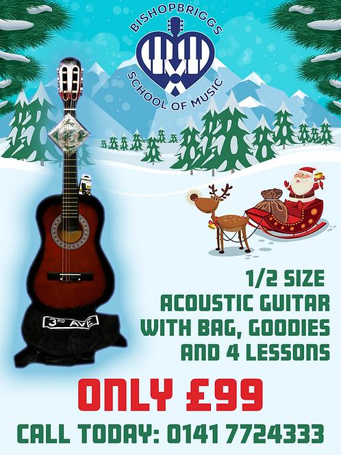 CHRISTMAS - ACOUSTIC GUITAR + BAG + LESSONS + MORE