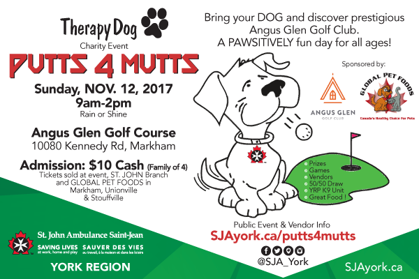 PUTTS 4 MUTTS Charity Event for St. John Ambulance York Region Therapy Dog Program