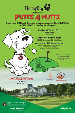 Putts4Mutts 2017 (12x18) POSTER - Therapy Dog Charity Event POSTER by St. John Ambulance, YORK REGION