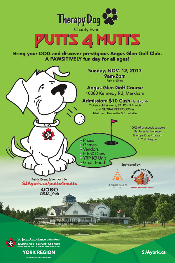 Putts4Mutts Therapy Dog Charity Event (12x18) POSTER by St. John Ambulance, YORK REGION
