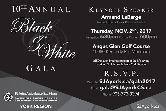 2017 10th Annual Black & White Charity Gala Event SOCIAL MEDIA AD by St. John Ambulance, YORK REGION