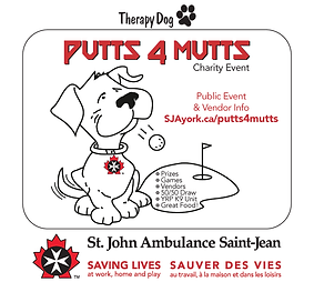 Putts4Mutts Therapy Dog Charity Event GRAPHIC by St. John Ambulance, YORK REGION