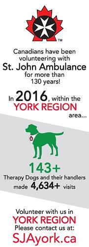 St. John Ambulance York Region THERAPY DOG 2015 Statistis