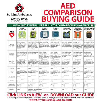 AED Comparison Buying Guide - St. John Ambulance works with Automated External Defibrillator AED manufacturers to offer units with specifications to meet the requirements of any workplace environment. View or download our AED Comparison Buying Guide to learn more about AED's and the one most suitable for your location.